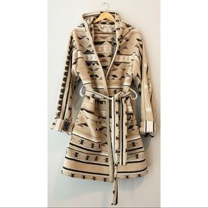 Handmade Southwestern Print Hooded Robe Jacket